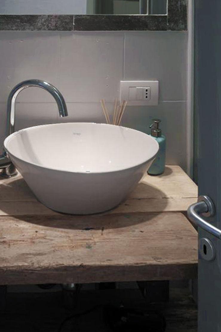 Architetto Alessandro spano Salle de bain industrielle Bois