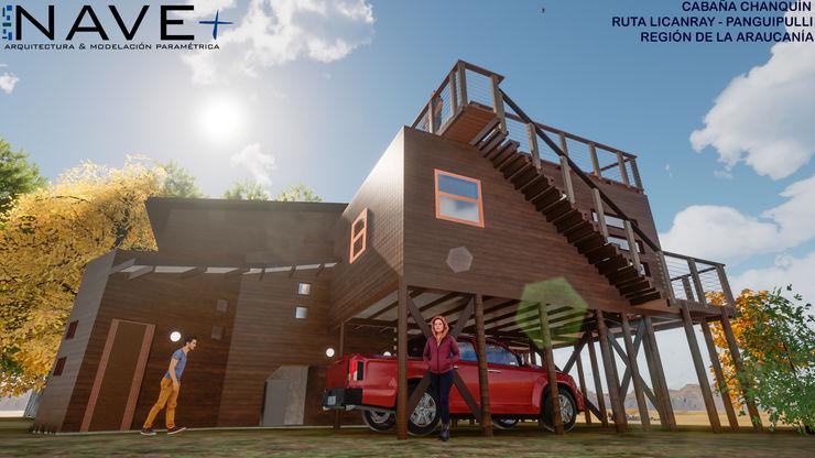Cabaña Chanquín, Licanray, Comuna de Villarrica Nave + Arquitectura & Modelación Paramétrica Casas de estilo rústico