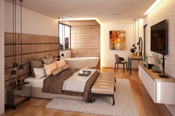 Diseño de Duplex - Miraflores Katherine Quijano - Interiorismo Cuartos pequeños Compuestos de madera y plástico Beige