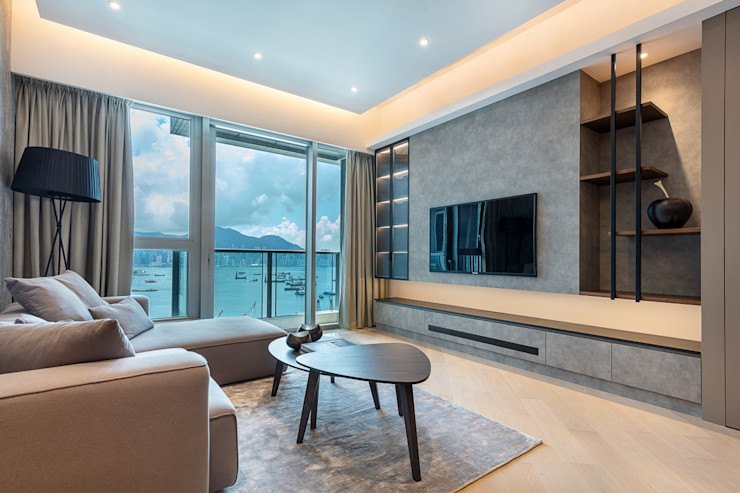 A Boutique Living Area for a Family of Four—Cullinan West, Hong Kong Grande Interior Design Modern living room