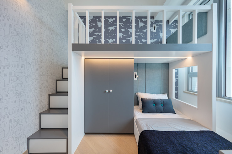 A Boutique Living Area for a Family of Four—Cullinan West, Hong Kong Grande Interior Design Small bedroom
