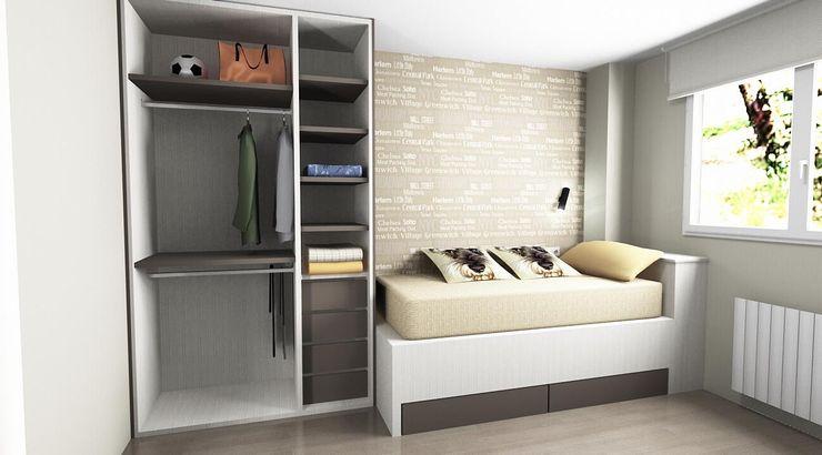 Proyecto dormitorio cama nido SERRANOS Studio Dormitorios pequeños Derivados de madera Beige