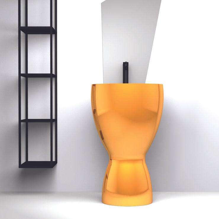 Bobo freestanding finitura Oro eto' Bagno moderno Ceramica Ambra/Oro