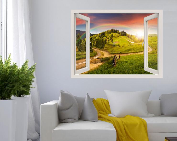 """Adesivo murale finestra """"PAESAGGIO CON ARCOBALENO"""" – Natura – Finestra illusione INTERNI & DECORI Pareti & Pavimenti in stile moderno PVC Verde"""