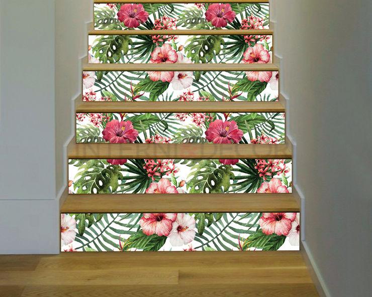 """Adesivo per scale fiori """"FOGLIE E IBISCUS"""" – Decorazione per scale INTERNI & DECORI Scale PVC Variopinto"""