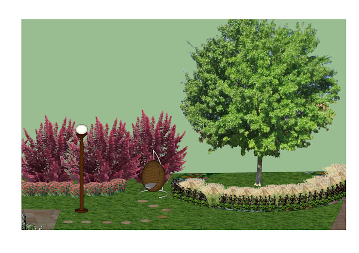 3D software elevation showing the quiet seating area The Rooted Concept Garden Designs by Deborah Biasoli Jardins campestres