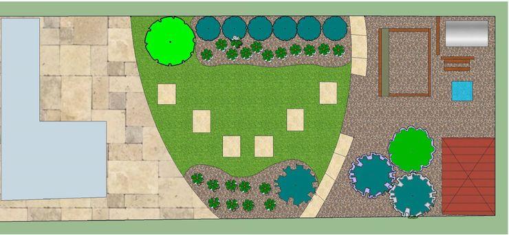 Garden Bird's Eye view The Rooted Concept Garden Designs by Deborah Biasoli Jardins mediterrâneos