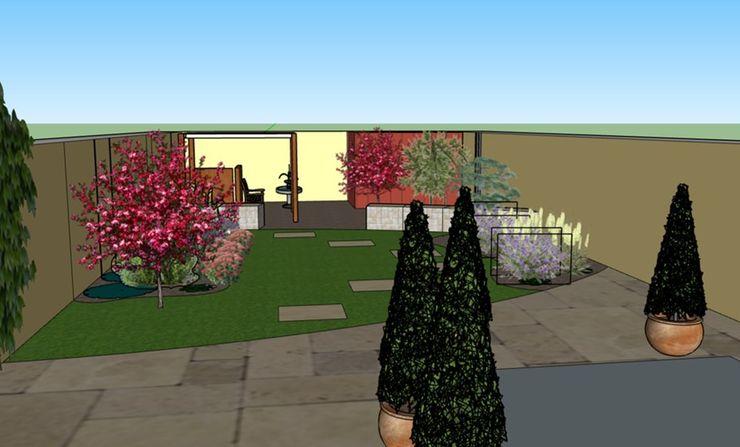 3D software elevation showing garden view from the house The Rooted Concept Garden Designs by Deborah Biasoli Jardins mediterrâneos