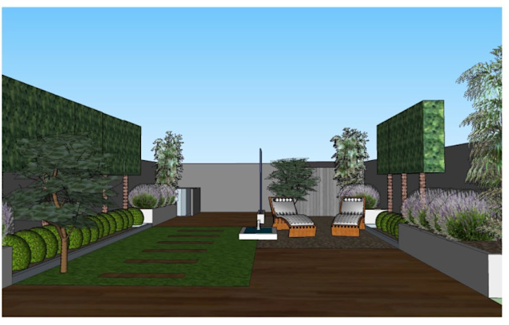 3D software elevation of garden view from the house The Rooted Concept Garden Designs by Deborah Biasoli モダンな庭