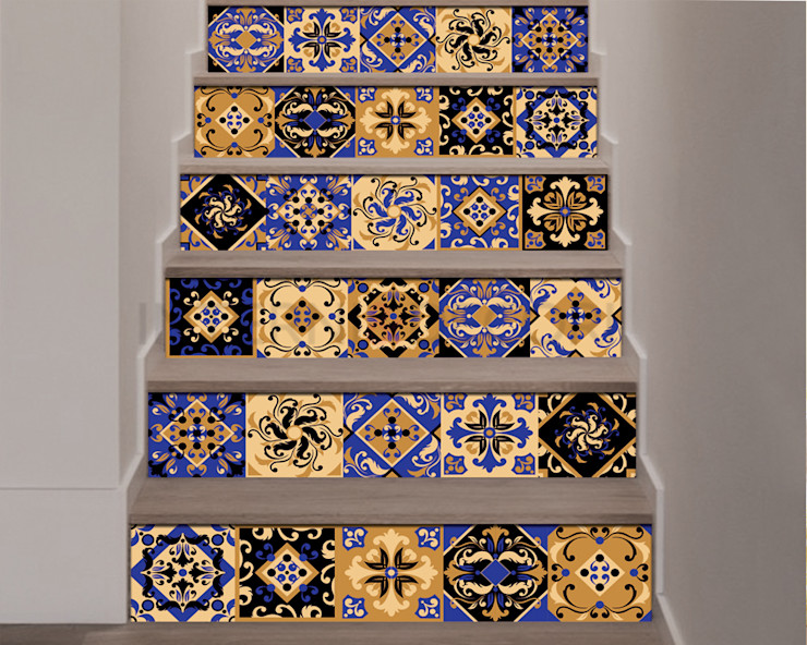 """Adesivo per scale """"GOLD AND BLUE STAIRS"""" – Decorazione per scale INTERNI & DECORI Scale PVC Ambra/Oro"""