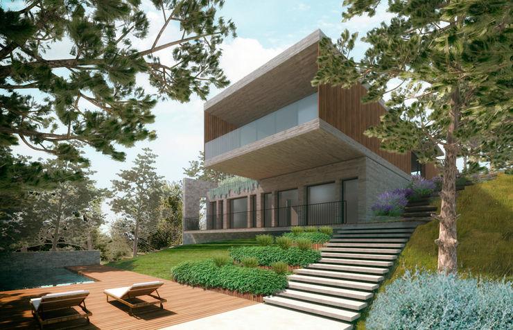 Imagem 3d do espaço exterior envolvente à piscina Rosa Pereira Arq. Paisagista Jardins modernos