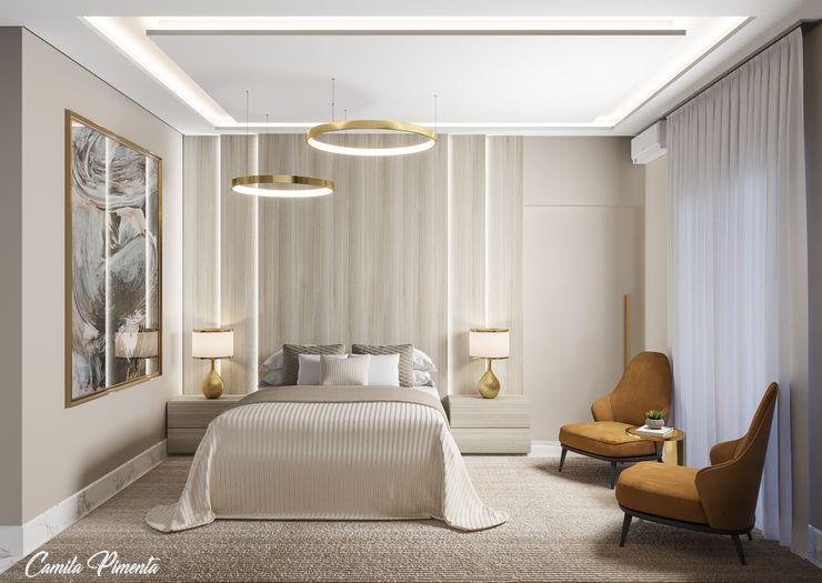 Suíte Master Camila Pimenta | Arquitetura + Interiores Quartos pequenos Madeira Bege