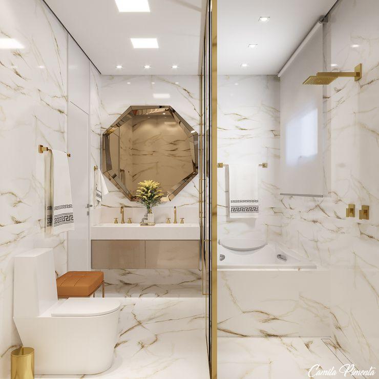 Banheiro Master Camila Pimenta | Arquitetura + Interiores Banheiros modernos Mármore Branco