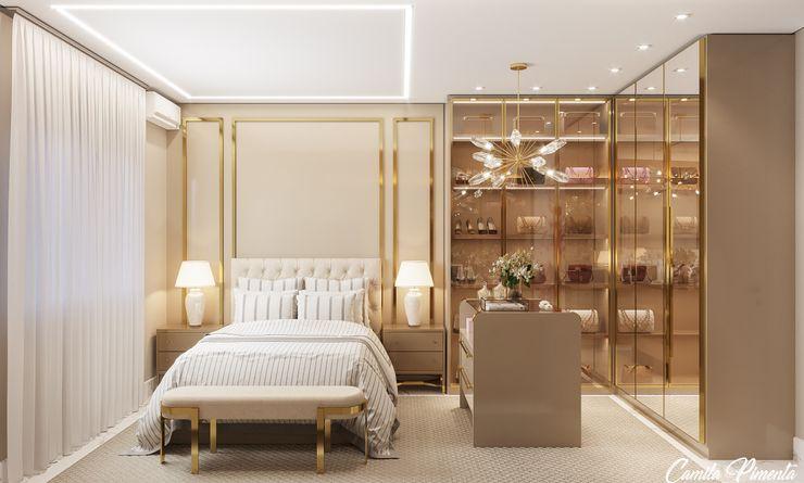 Quarto Camila Pimenta | Arquitetura + Interiores Quartos modernos Madeira Bege
