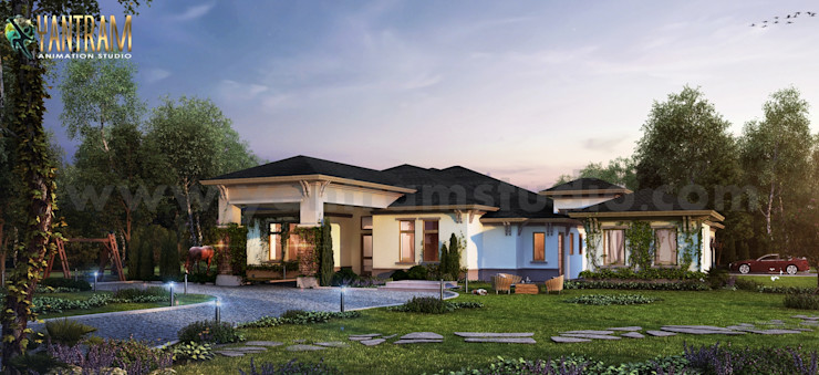 Modern House with large Garden 3d exterior rendering Company by Architectural Design Studio, Dezful - Iran Yantram Architectural Design Studio Corporation Villas