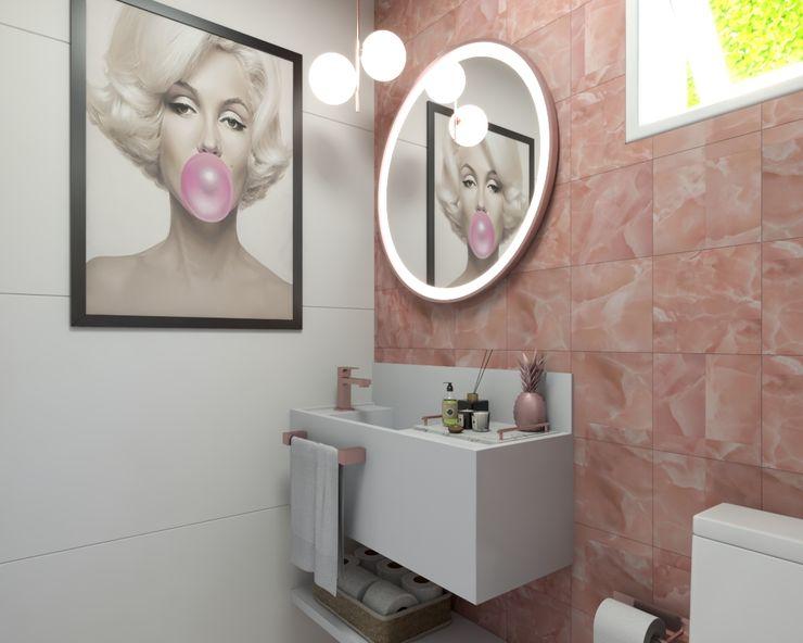 Triplo Arquitetura Baños de estilo moderno Rosa