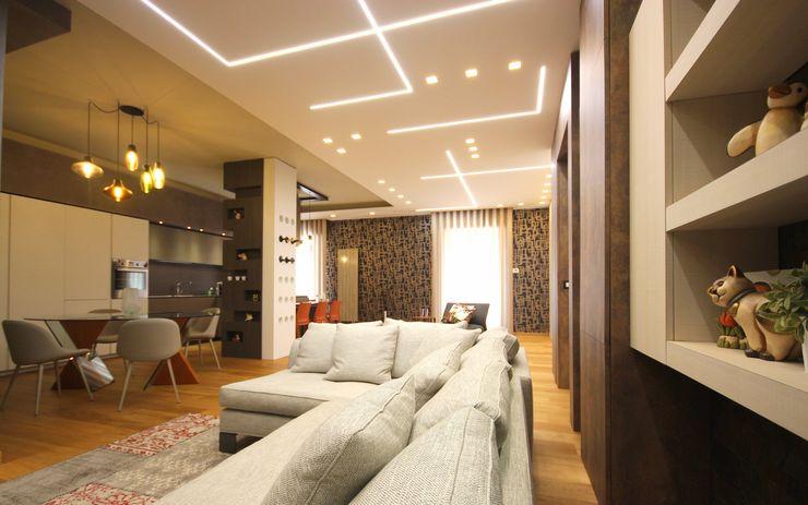 Studio Ferlenda Вітальня Інженерне дерево Сірий