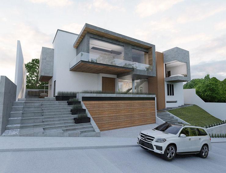 FACHADA FRONTAL emARTquitectura Arte y Diseño Casas unifamiliares