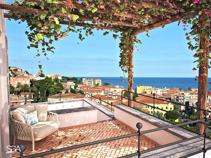 Complesso Residenziale Le Terrazze SGA srl Balcone, Veranda & Terrazza in stile mediterraneo