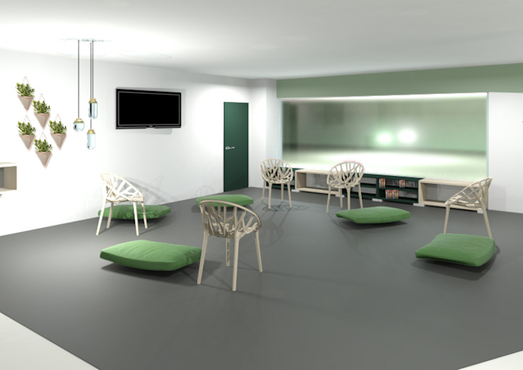 Sala Accoglienza cani Gaia Cavagna Cliniche in stile scandinavo Verde