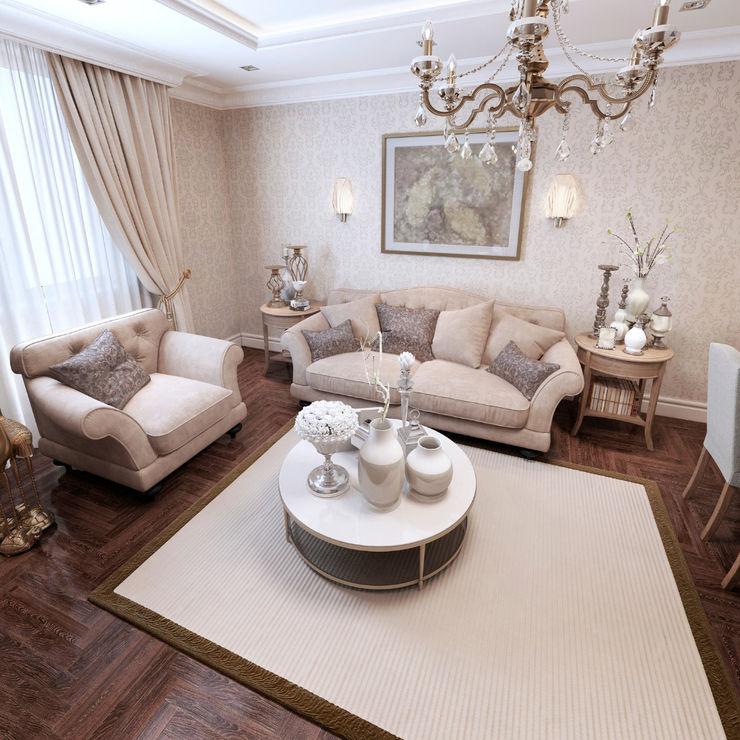 Inneneinrichtung einer Jugenstilvilla Polanski Innenarchitektur WohnzimmerSofas und Sessel Textil Weiß