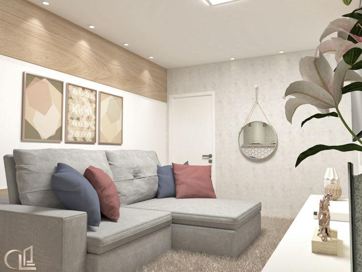 Laene Carvalho Arquitetura e Interiores Minimalist living room Wood effect