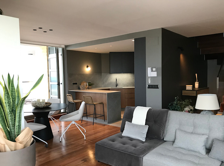 Espacio abierto A interiorismo by Maria Andes Salones de estilo moderno Gris