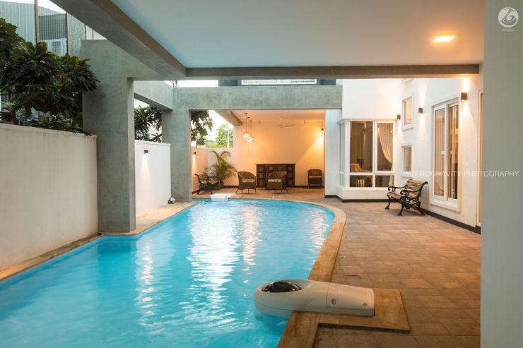 Pool Area 2 Abode Studios Rustic style pool Wood White