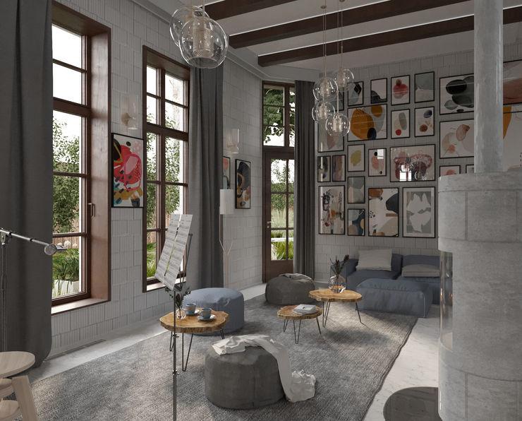 Гостиная в стиле ЛОФТ Locos Гостиная в стиле лофт Кирпичи Серый