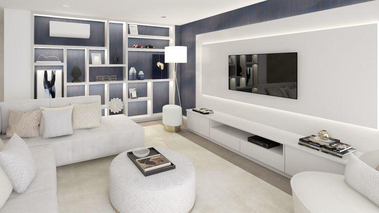 Projeto 3D - Moradia Seixal Ana Andrade - Design de Interiores Salas de estar modernas