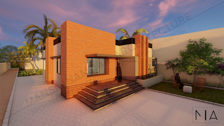 BRICK & BLOCK HOUSE, Khanapur. MI Architecture Bungalows Bricks Grey