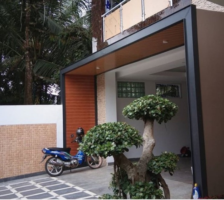 Alfaiz Design Modern balcony, veranda & terrace Plastic Brown