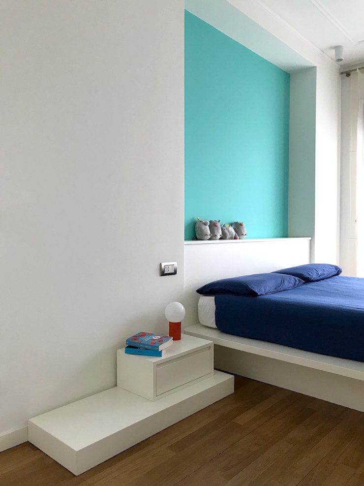 Camera matrimoniale 01 Studio Zay Architecture & Design Camera da letto minimalista Legno Turchese