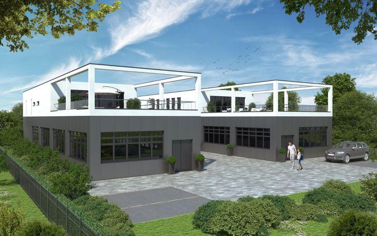 Neubau von zwei Werkstätten im Gewerbegebiet Steinweg, Mannheim Peter Stasek Architects - Corporate Architecture Industriale Geschäftsräume & Stores Aluminium/Zink Schwarz