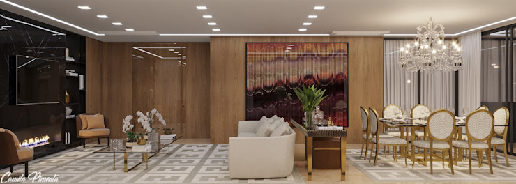 Camila Pimenta | Arquitetura + Interiores Modern living room Wood Beige