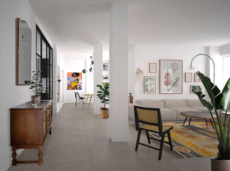 Zona Living homify Soggiorno eclettico Cemento Bianco