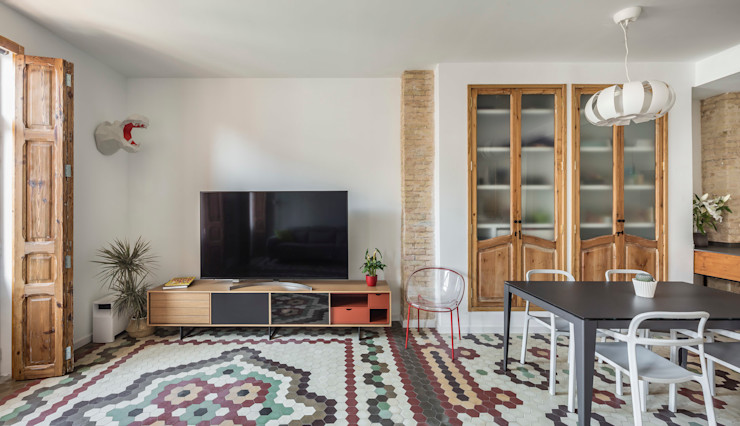 Vivienda en Ruzafa tambori arquitectes Salones de estilo moderno