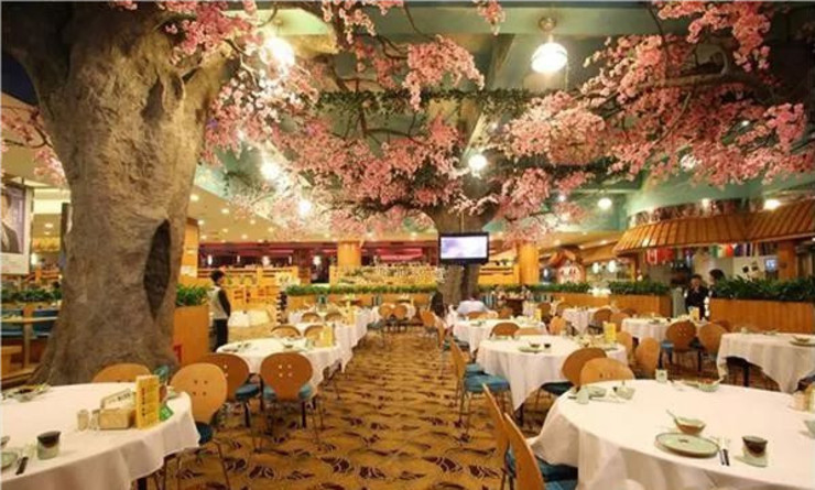 Artificial Pink Trees in the Restaurant Sunwing Industries Ltd Commercial Spaces Wood-Plastic Composite Pink