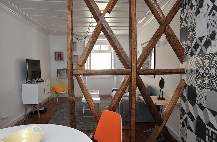 Cloison de séparation en bois SAB & CO Salon moderne