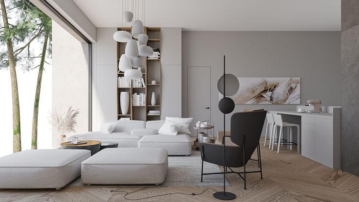 Дом в Репино Elena Demkina Design Гостиная в стиле минимализм Серый