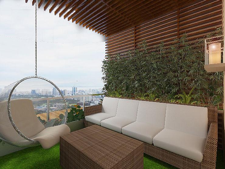 Ataşehir Bekar evi oturma odası_ 50GR Mimarlık Balkon