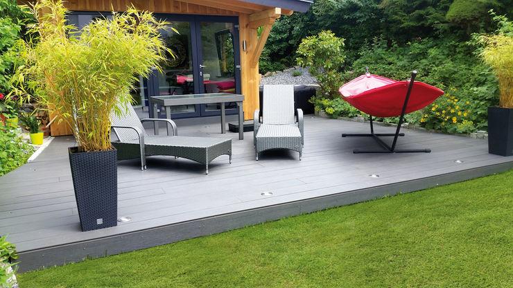 Composiet LuxDeck DesignBlack Exclusieve tuinproducten Moderne balkons, veranda's en terrassen Houtcomposiet Grijs