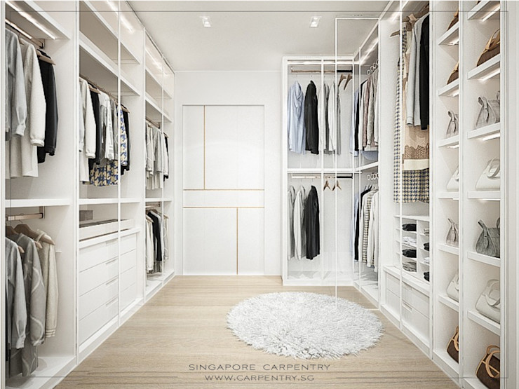 Singapore Carpentry Interior Design Pte Ltd 北欧デザインの ドレッシングルーム 木 白色
