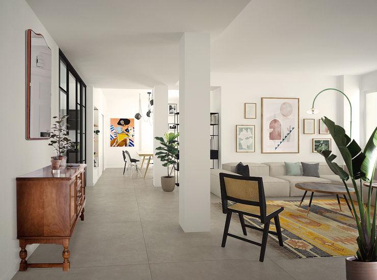 Zona living Studio Zay Architecture & Design Soggiorno eclettico Cemento Bianco