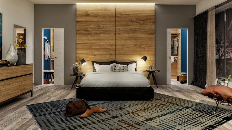 La camera da letto di Cristina e Luigi PF Interior Design Camera da letto moderna Legno massello Effetto legno