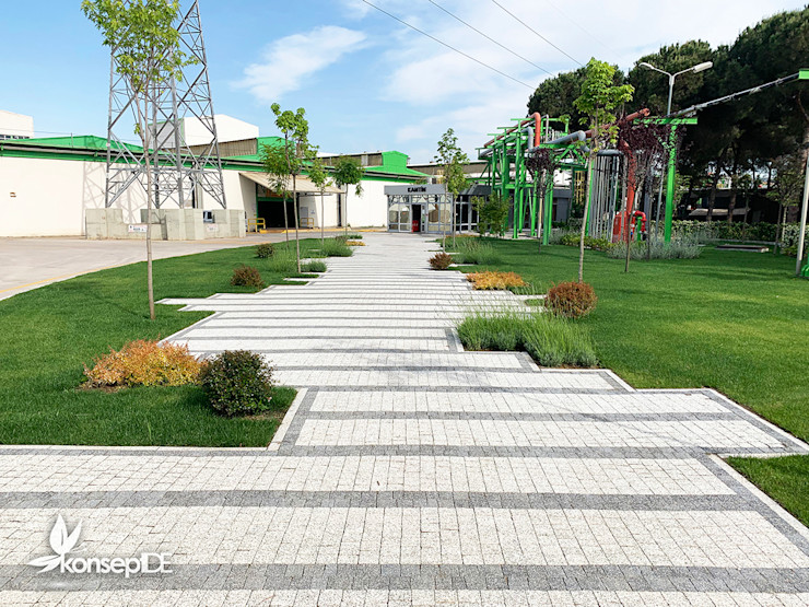 AKSA AKRİLİK KİMYA SANAYİ KANTİN YOLU PROJELENDİRME & UYGULAMA konseptDE Peyzaj Fidancılık Tic. Ltd. Şti. Modern Bahçe