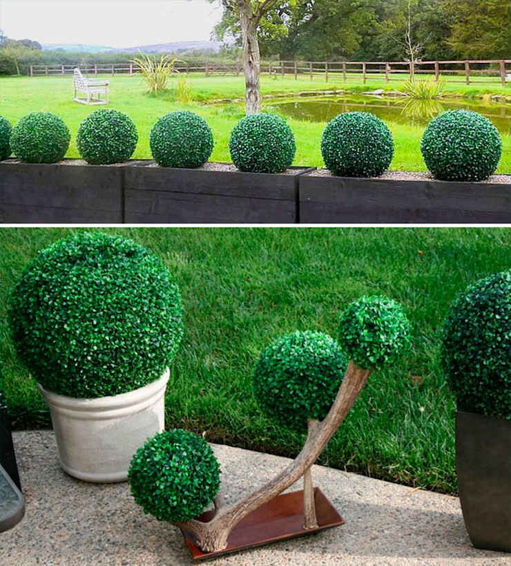 Outdoor Artificial Boxwood Ball Planter Sunwing Industries Ltd Commercial Spaces Plastic Green