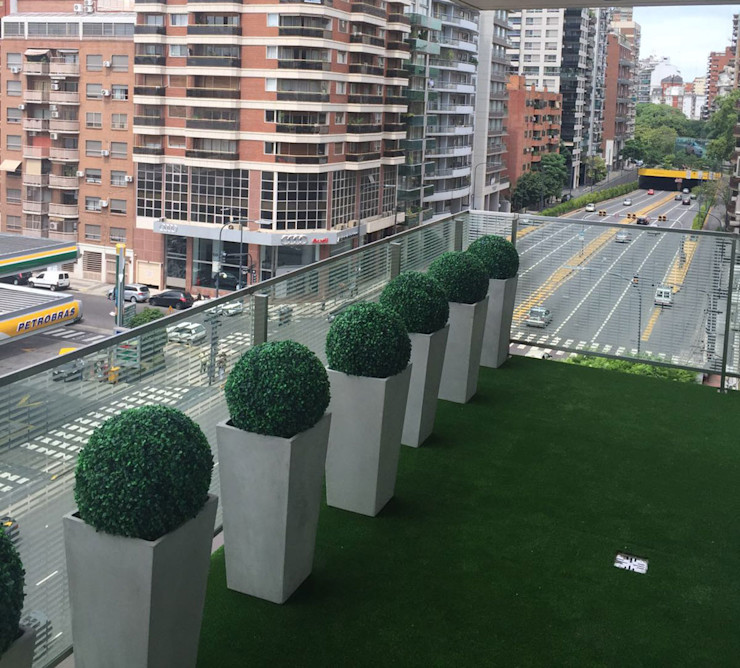 Office Building Corridor with Artificial Topiary Balls Sunwing Industries Ltd Commercial Spaces Plastic Green