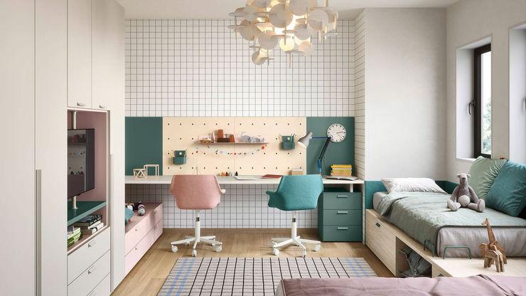 Cameretta bambini con scrivania doppia TopArredi Camera da letto moderna Legno composito