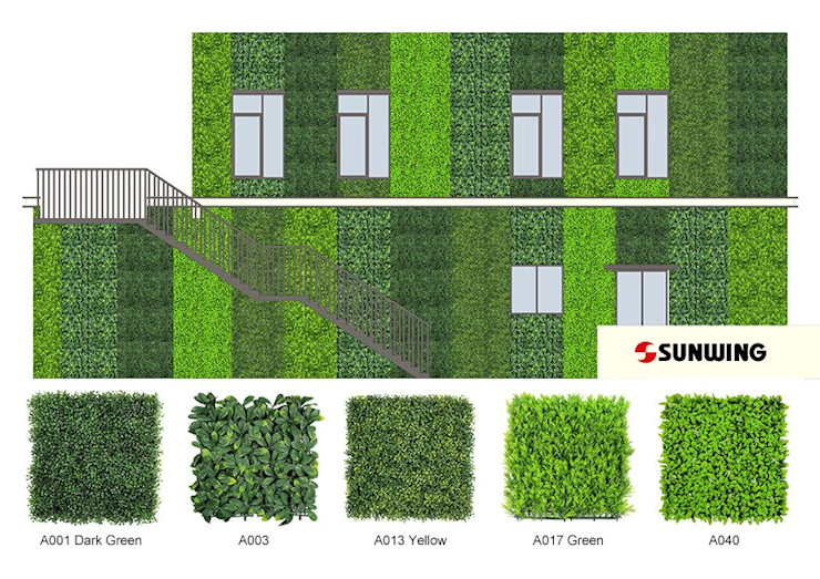Design Draft of Artificial Hedge Wall Sunwing Industries Ltd Asiatische Ladenflächen Plastik Grün